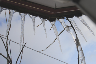 Rack of icicles above our window
