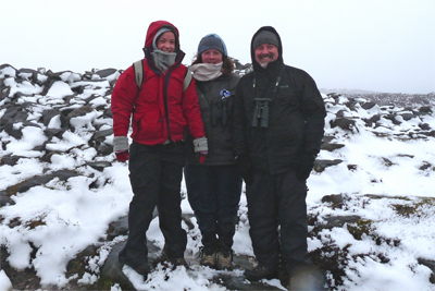 Steph, Kathryn and Martin on the ridge above Lordenshaws
